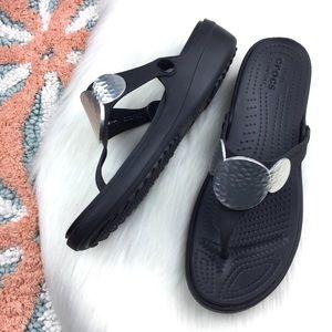 Crocs Sanrah Embellished Wedge Flip Flops.